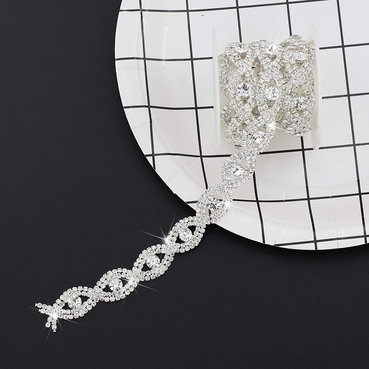 SHINYTIME Rhinestone Chain Trim Banding Diamond Applique Rhinestones for Crafts Clothes and Bridal Bouquet Embellishments Exquisite Wedding and Easter Ideas Tassel 1