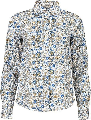 XueXian(TM) Mujer de Ocio Camisa con Patrón de Azul Flores ...