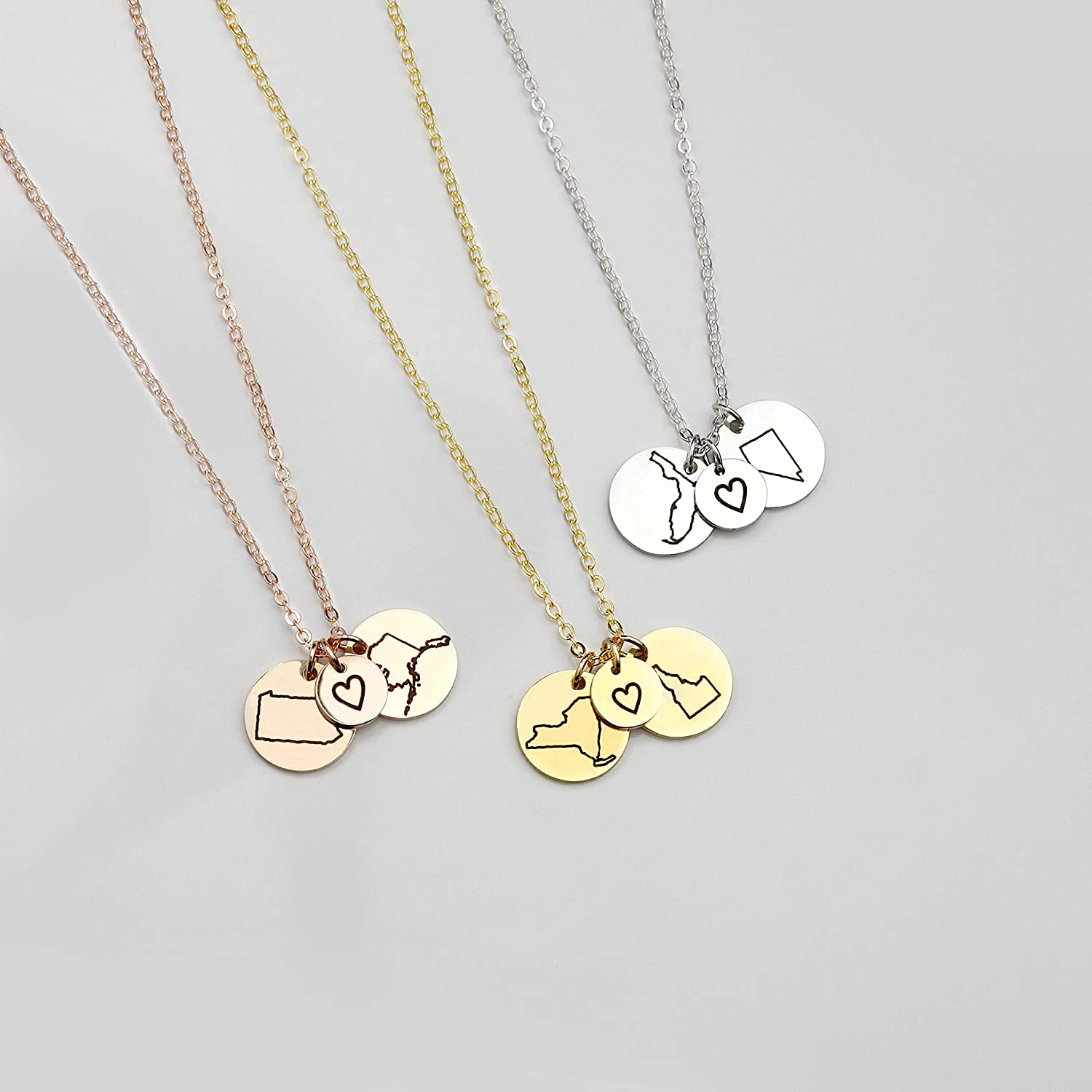 5411a0f284c87 Best Friend Gifts Long Distance Friendship Jewelry State Necklace Charm  Necklaces Custom Necklace Best Gifts Name Rose Necklace - CN-LDS