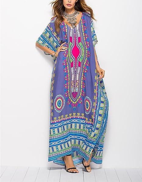 Gudelaa Vestido Estampado Africano Suave de Las Mujeres Robe Cubre ...
