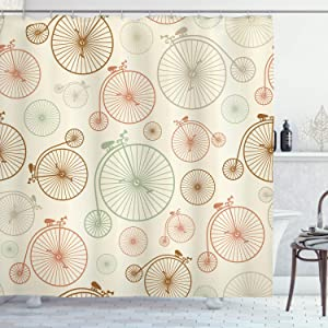 Ambesonne Vintage Shower Curtain, Vintage Bicycles with Antique Wheels Indie Backdrop Classical Design Illustration, Cloth Fabric Bathroom Decor Set with Hooks, 70