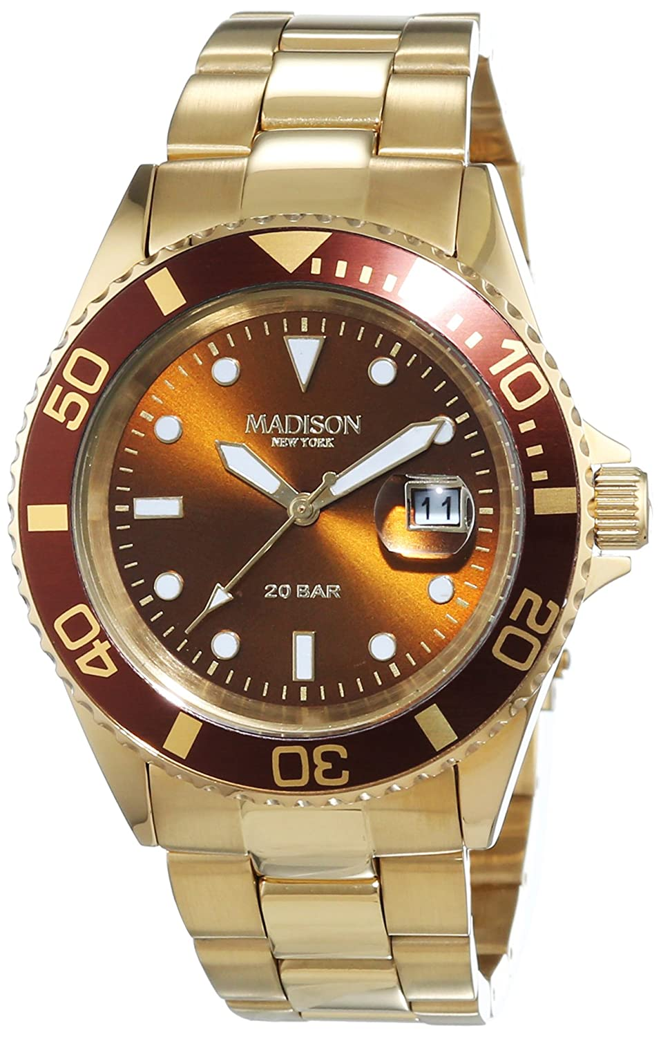 MADISON NEW YORK Unisex-Armbanduhr GLAMOR Analog Quarz Edelstahl beschichtet G4790D1