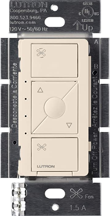 Lutron Caseta Smart Home Ceiling Fan Speed Control Switch, Works with Alexa, Apple HomeKit, and the Google Assistant | PD-FSQN-LA | Light Almond