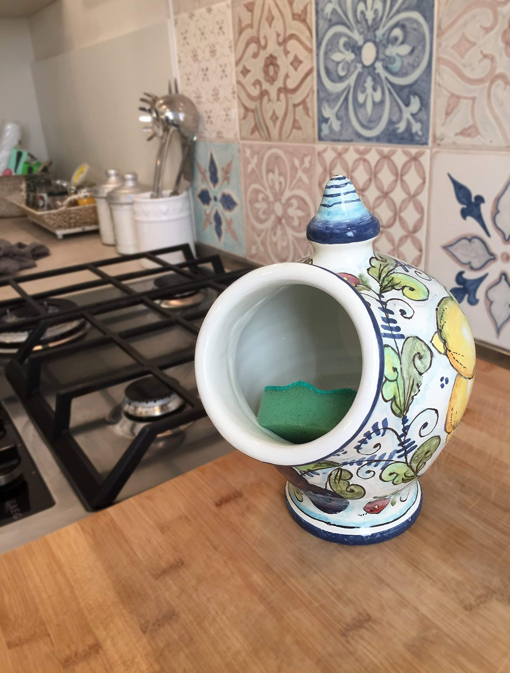 CERAMICHE D'ARTE PARRINI- Italian Ceramic Jar Salt Holder Sponge Hand Painted Decorated Fruit Made in ITALY Tuscan Art Pottery by CERAMICHE D'ARTE PARRINI since 1979 (Image #4)