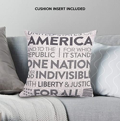 Decozen Decorative Throw Pillow with Insert 18 x18 inches in 1 Set American One Nation Print for Couch Sofa Bed Living Room Bedroom Farmhouse Patio