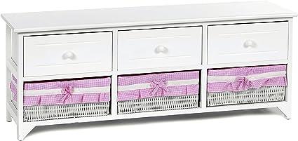ts-ideen Design Commode Armoire /Étag/ère Stockage Style Maison de Campagne MDF avec 5 tiroirs 71,5 x 30,5 x 31,5 cm