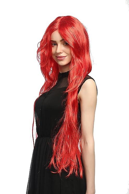 WIG ME UP ® - 91126-ZA13 Peluca Carnaval señoras, rojo fuego liso graduada raya muy largo 85cm: Amazon.es: Juguetes y juegos
