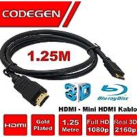 1,25 Metre HDMI- Mini HDMI Kablo v1.4 3D Altın Uçlu