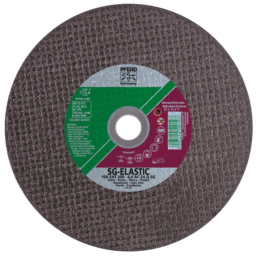 PFERD 64120 Large Diameter Flat Cut-Off Wheel, Type 1, AAluminum Oxide A, 12' Diameter x 1/8' Thick, 1' Bore Size, 6400 Max RPM (Pack of 20)