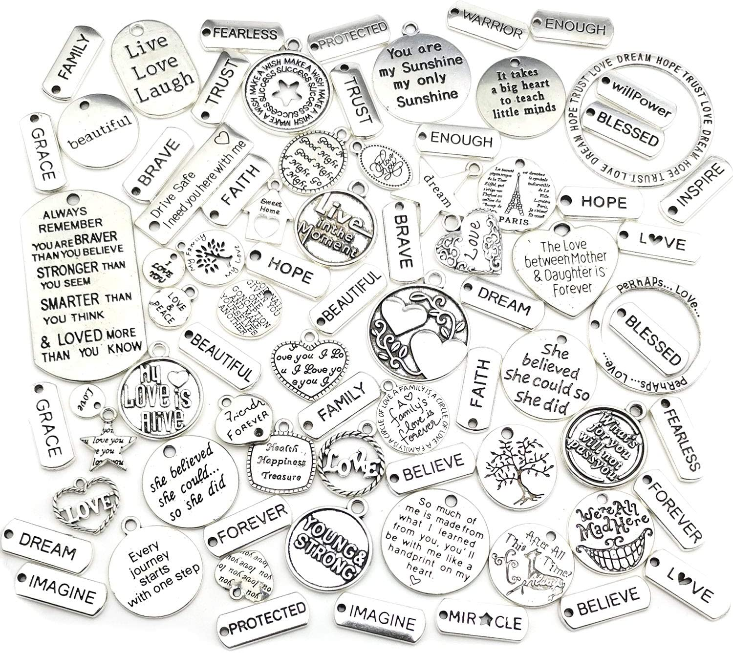 WOCRAFT 110pcs Inspiration Words Charms Craft Supplies Beads Charms Pendants for Jewelry Making Crafting Findings Accessory for DIY Necklace Bracelet (M375)