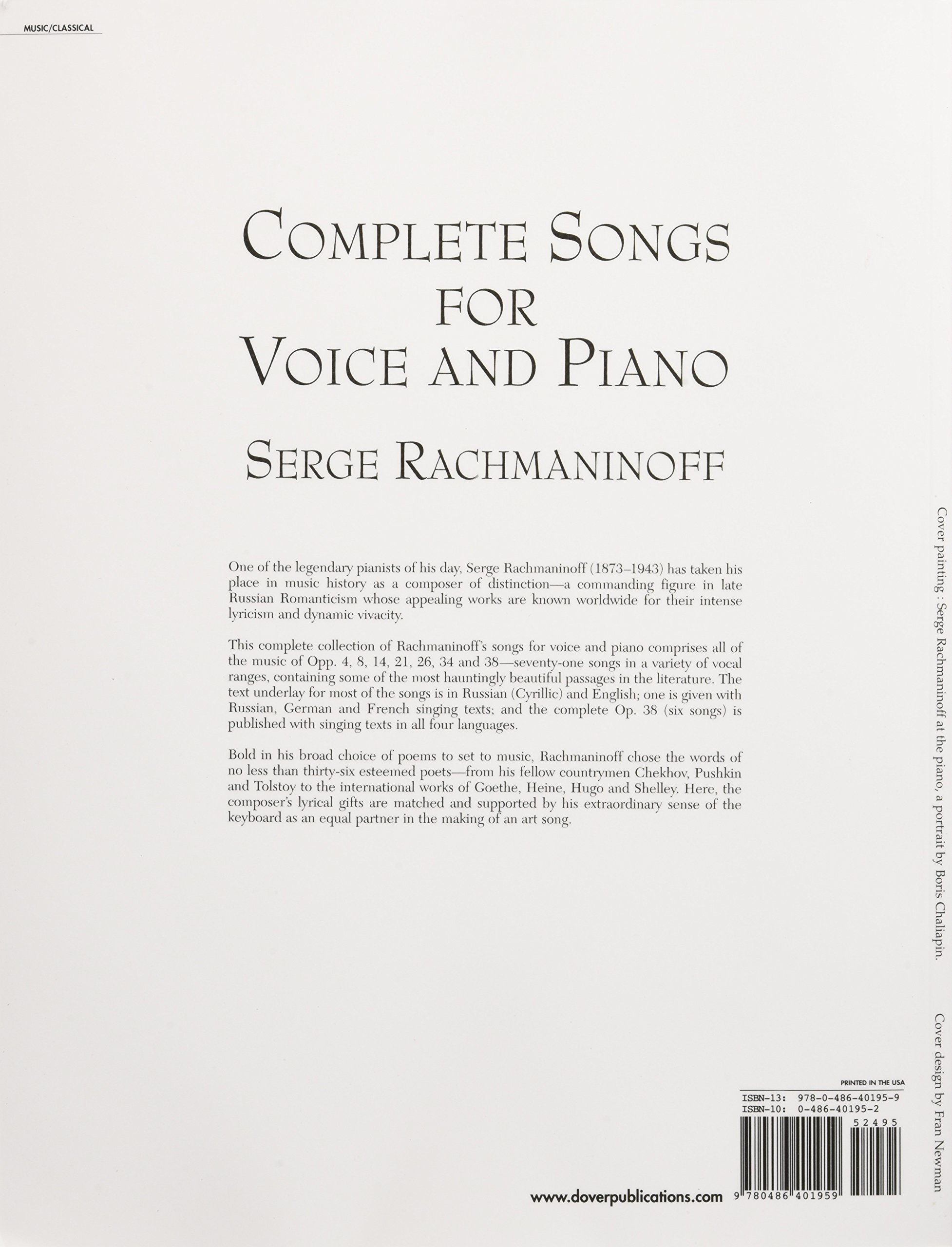 Complete Songs For Voice And Piano (dover Song Collections): Serge  Rachmaninoff: 9780486401959: Amazon: Books