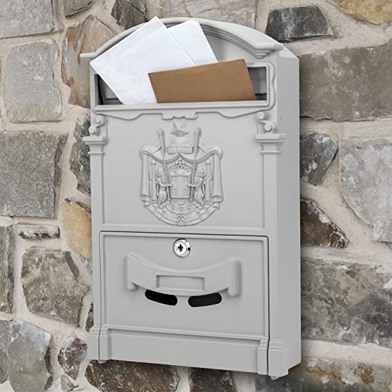 Briefkasten Postkasten Retro Antik Vintage metallische Schwarze rot f/ür wallmount PrimeMatik