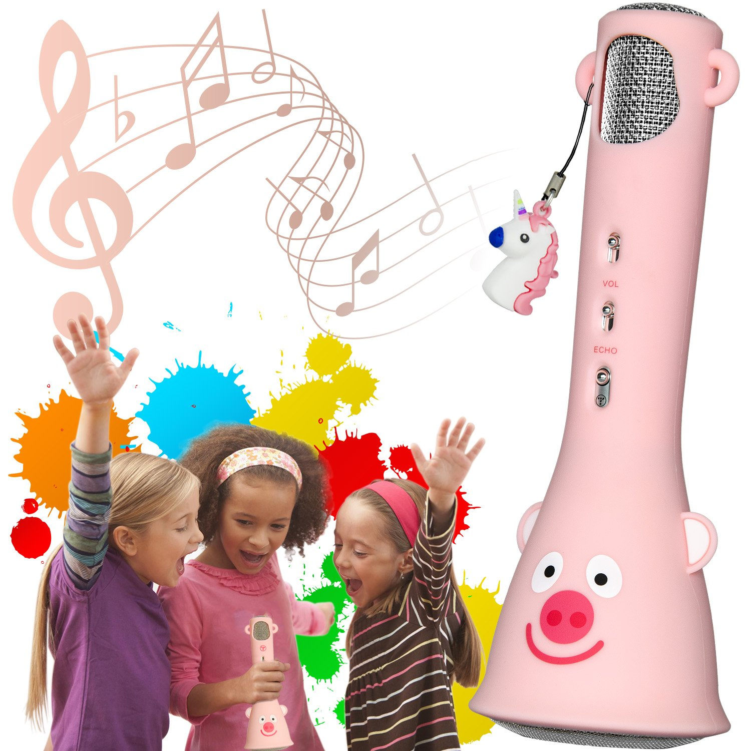 Kids Karaoke Microphone Portable Handheld Wireless Bluetooth karaoke Mic Voice Mixer for Home KTV Outdoor Party Birthday Speaker Machine for iPhone/Android/iPad/PC and Smartphone-Gift Packing(Pink)