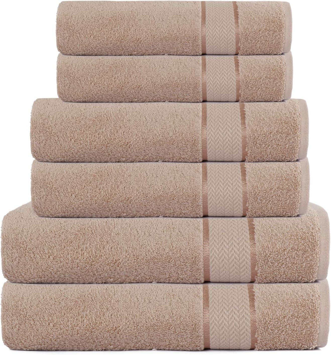 100% Cotton 6 Piece Bathroom Towel Set – 2 Bath Towels 30x54– 2 Hand Towels 16x28 – 2 Washcloths 12x12 – Soft Absorbent Towels – Plush Towel Set – Luxury Ultra Soft Towel Set – Linen
