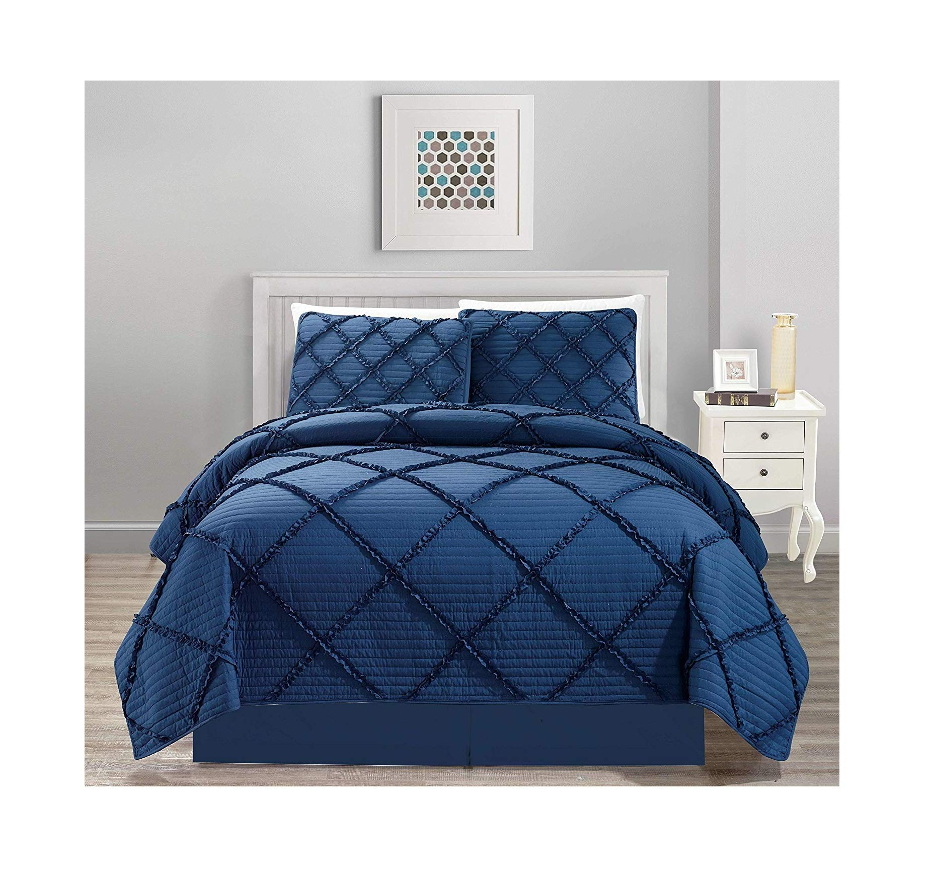 All American Collection New 4pc Diamond Pleated Ruffle Bedspread/Quilt Set with Bedskirt (Queen Size, Navy)
