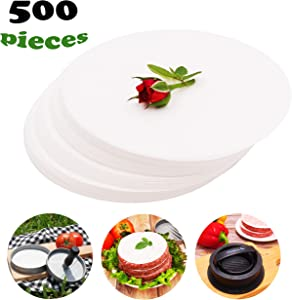 Meykers Patty Paper Sheets for 4.5 Inch Burger Press (500 pcs) - Round Hamburger Non-Stick Heat Resistant Circle Wax Parchment Paper Maker Cook Bake Steaming Grill BBQ Barbecue