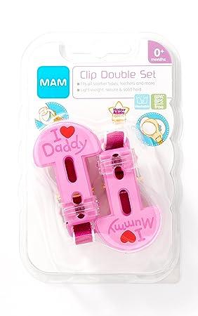 MAM 2 x Cadena párr chupete I Love Mummy & I Love Daddy (Rosa)