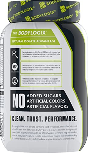 Bodylogix Natural Whey Isolate Protein Powder, NSF Certified for Sport, Vanilla Bean, 2 Pound