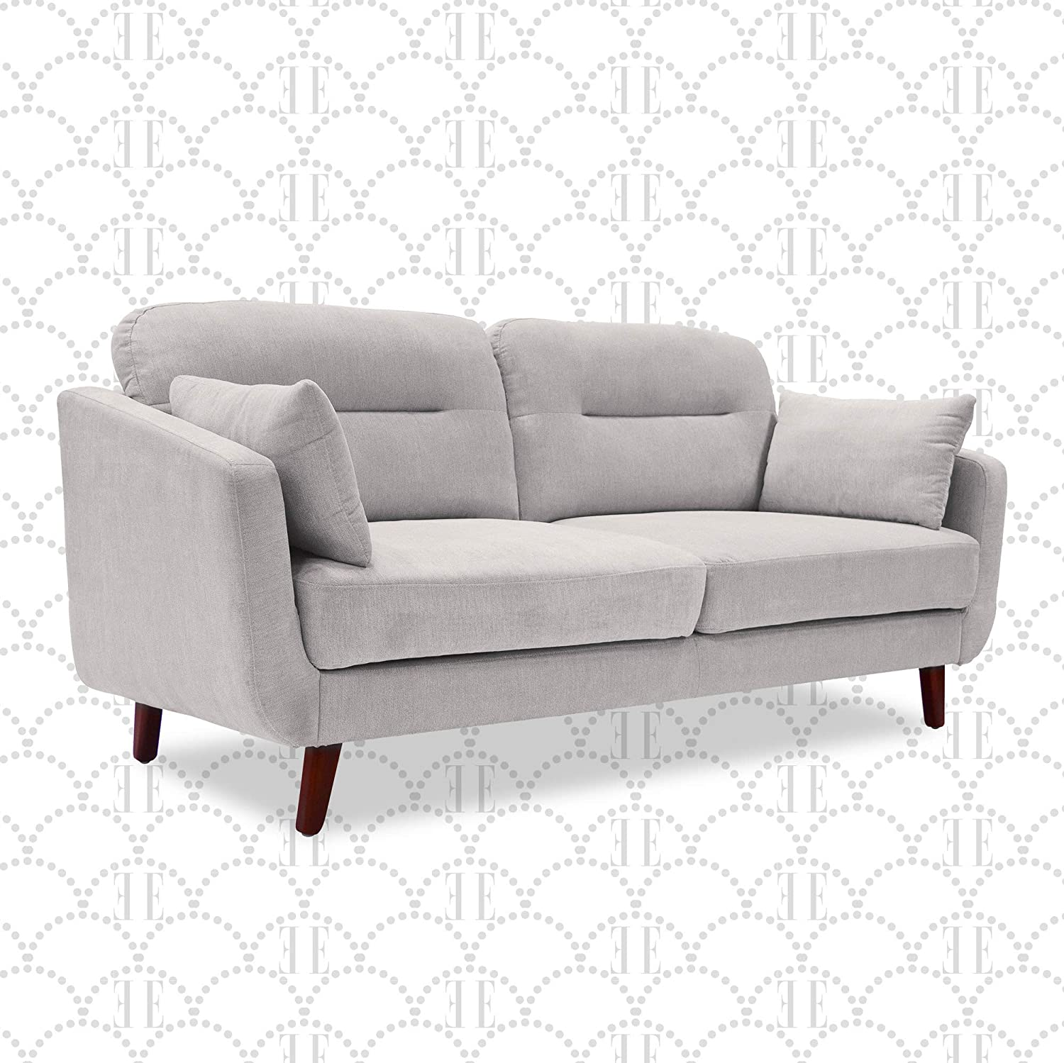 elle decor chloe upholstered living room sofa tufted fabric couch mid century walnut tapered footers 61 loveseat light gray