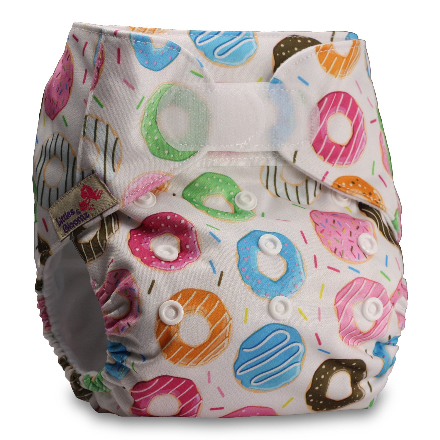 Littles & Bloomz, Reusable Pocket Cloth Nappy, Fastener: Hook-Loop, Set of 1, Pattern 18, With 2 Bamboo Inserts