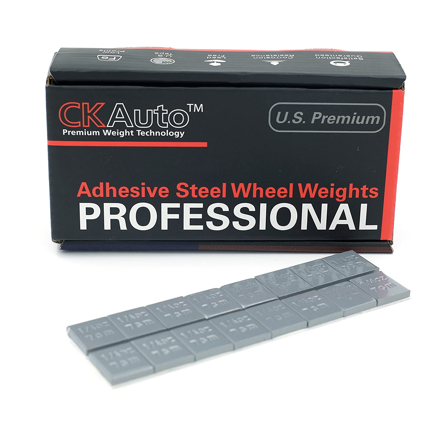 1/4oz,0.25oz,Grey,Adhesive Stick on Wheel Weights,GM, Ford,Chrysler, Low Profile,Wheel Balance Weights, 60 oz/box, 1.7 kg/box, 3.75 lb/box CK Auto