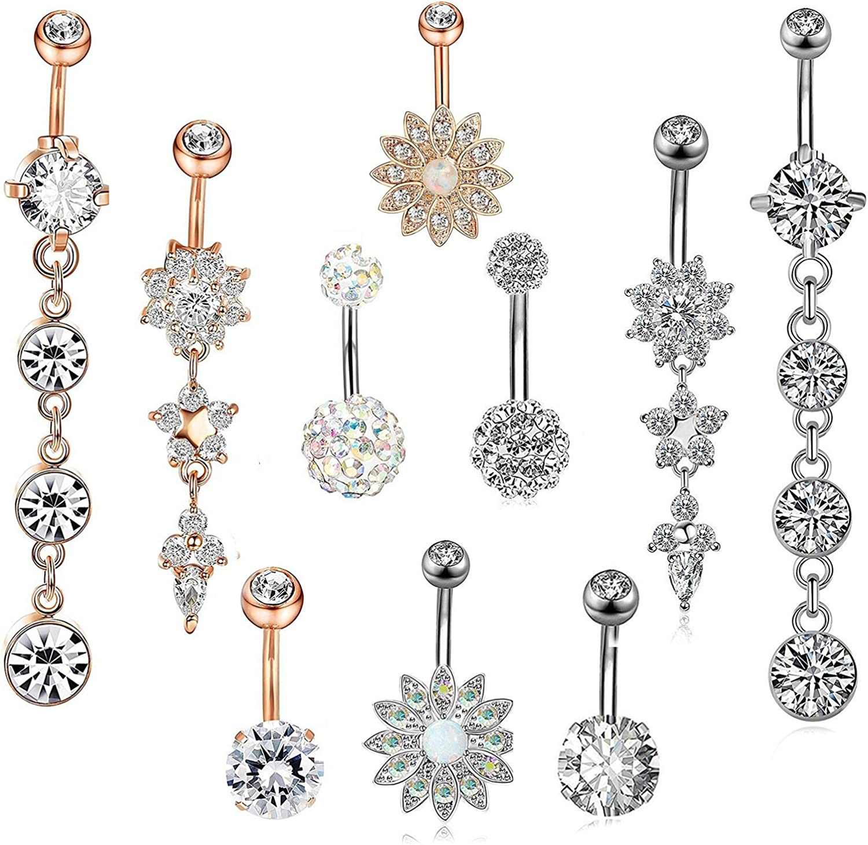 Rhinestone Body Piercing Dangle Crystal Navel Belly Button Bar Barbell Rings U