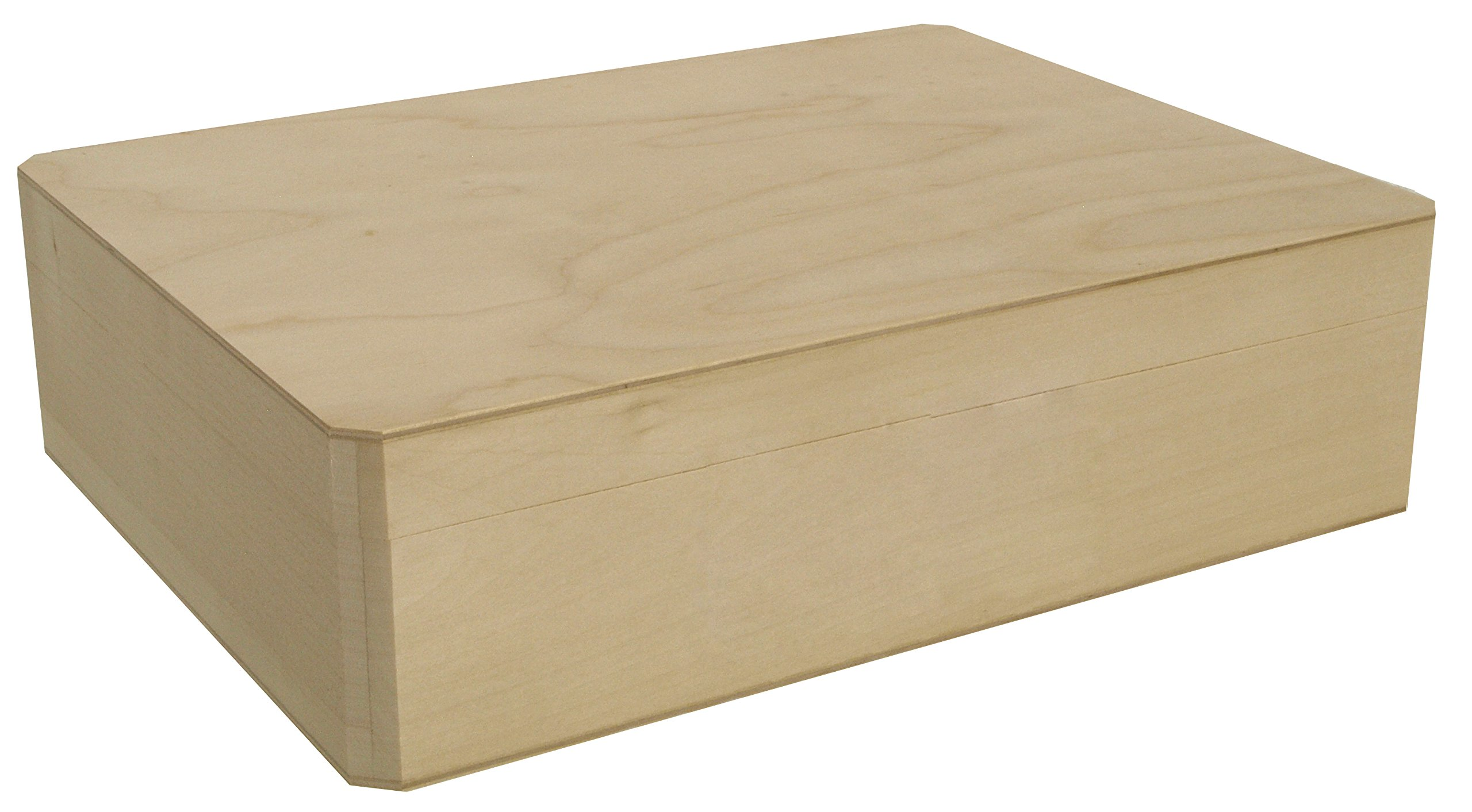 Walnut Hollow Unfinished Wood Cornice Box with Hinged Lid for Arts, Crafts, Hobbies and Home Storage