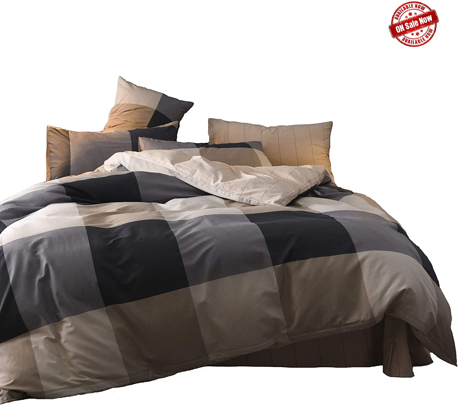 Jane yre Plaid Grid Duvet Cover,250 Thread Count Cotton Queen Grid Bedding Set,Grey Gingham Reversible Beige Striped Pattern Printed,with Zipper Closure,Ties,Luxury Soft Breathable,(3pcs,Queen)