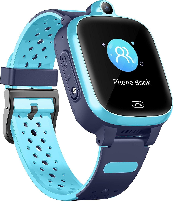 4G Reloj Inteligente para Niños - Smart Watch con GPS con Posición en Tiempo Real a Prueba de Agua, WIFI, Mensaje de Videollamada, Podómetro, Geofence SOS, Anti-Pérdida de Educación Temprana (Azul)