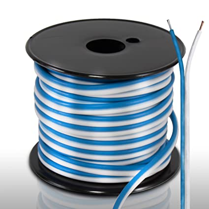 50ft 18 gauge speaker wire waterproof marine grade cable in spool for connecting audio stereo to amplifier, surround sound system, tv home theater XLR Wiring