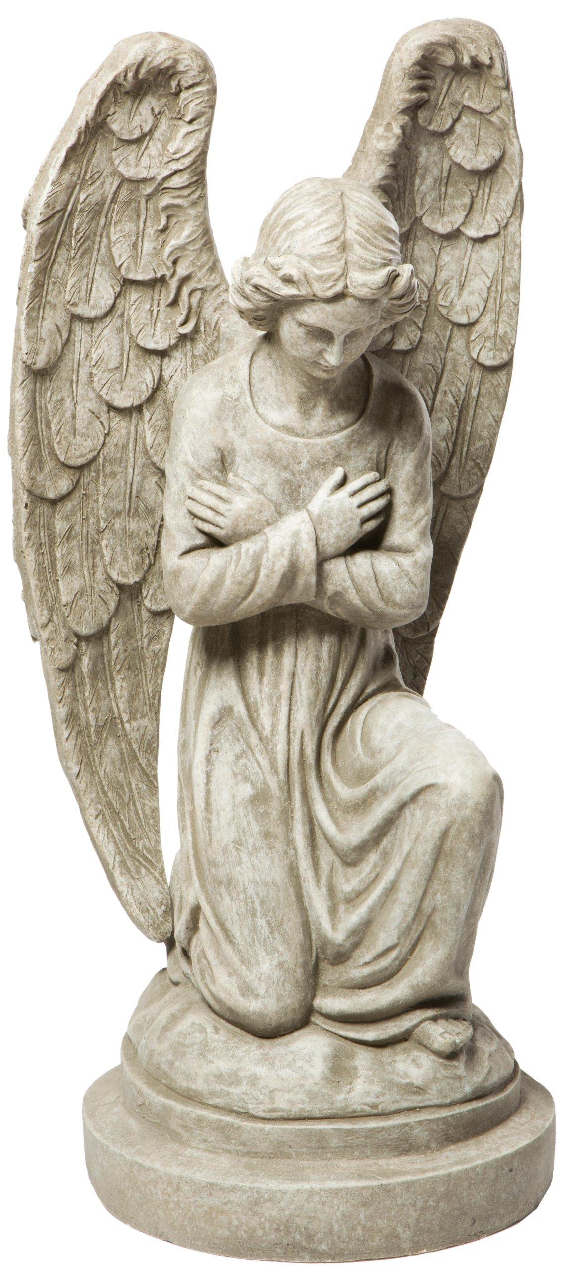 Alfresco Home Kneeling Angel Statuary, Antique Granite