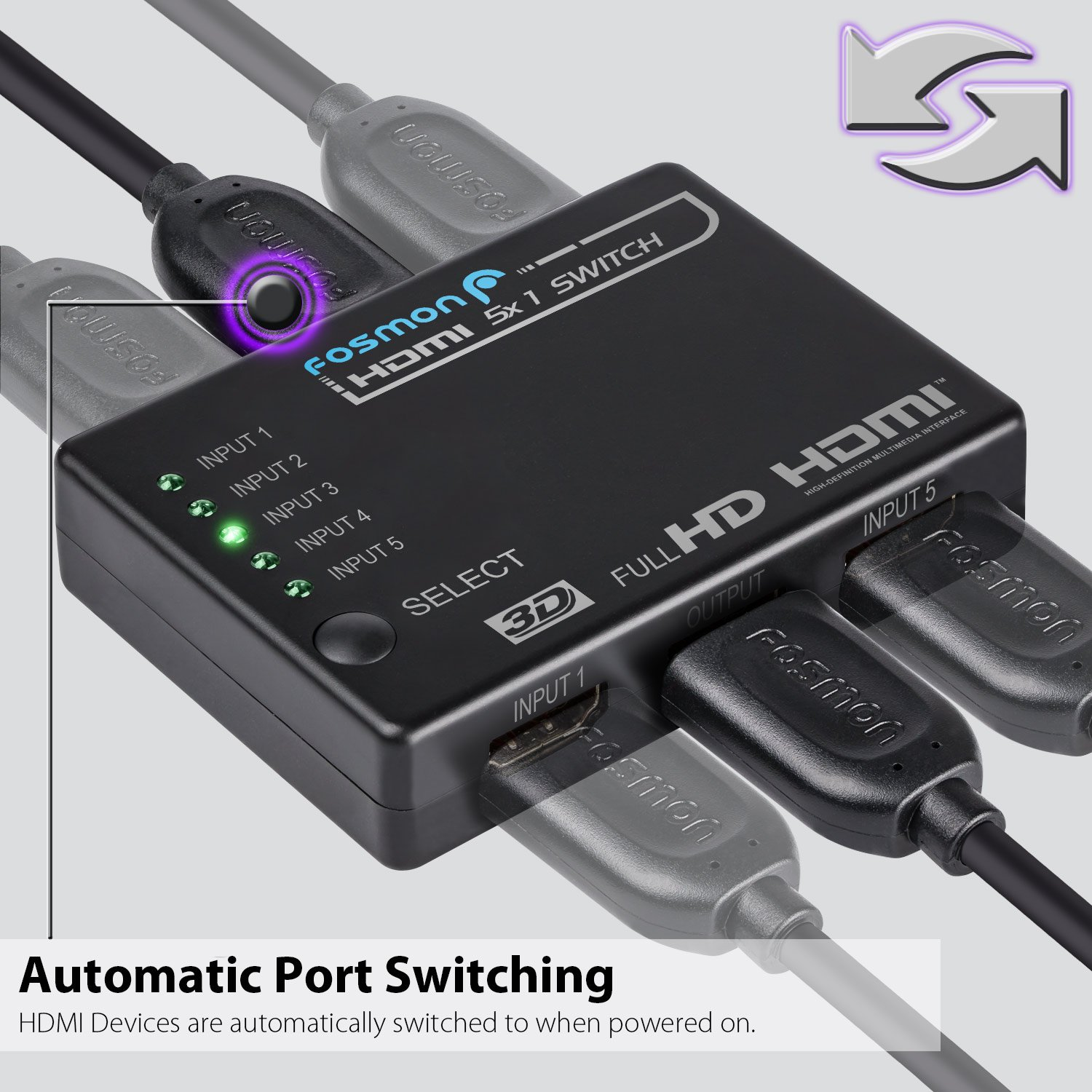 Fosmon HD1832 Intelligent 5x1 5-Port HDMI Switch/Switcher with IR Remote  and 1 5 Meter USB Power Cable (Supports 3D)