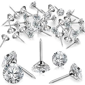 Diamond Crystal Upholstery Nails Tacks Crystal Furniture Tacks Crystal Head Thumb Tacks Decorative Push Pins for Furniture Sofa Headboards Cork Board (100 Pieces,16 mm)