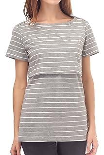 9b468557fc498 Smallshow Nursing Tops Women's Summer Short Sleeve Striped Breastfeeding T- Shirt