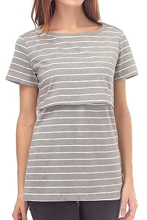 351a929b1354f Smallshow Nursing Tops Women s Summer Short Sleeve Striped Breastfeeding T- Shirt
