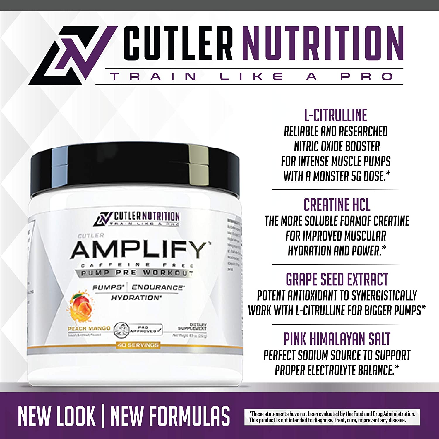Amplify Caffeine Free Pre Workout for Men and Women Stim Free Muscle Pump Enhancer, Hydration Powder with Electrolytes, L Citrulline, Creatine HCl for High Volume Training Peach Mango, 40 Servings