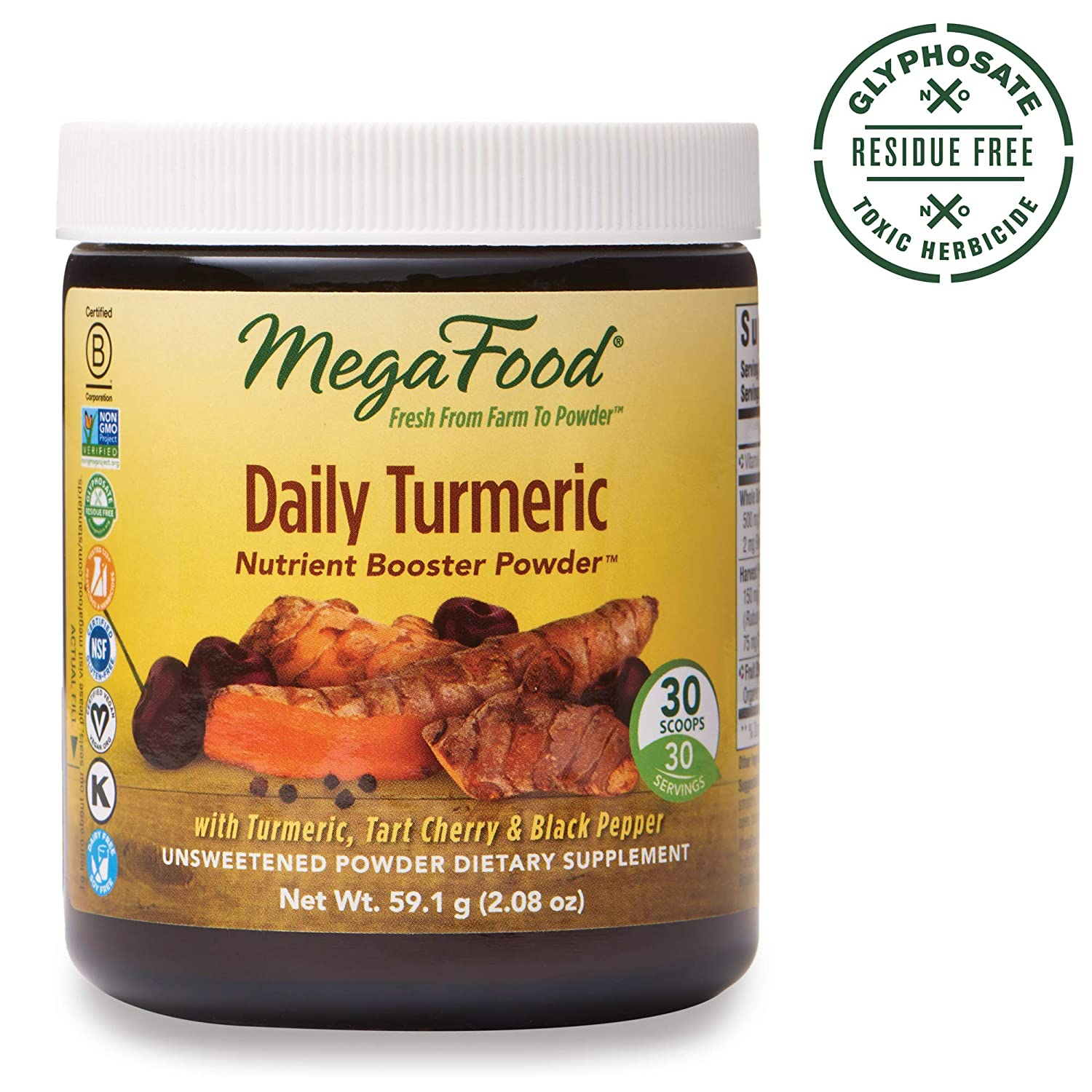 MegaFood, Daily Turmeric Nutrient Booster Powder, Post-Exercise Recovery,  Gluten Free, Vegan,