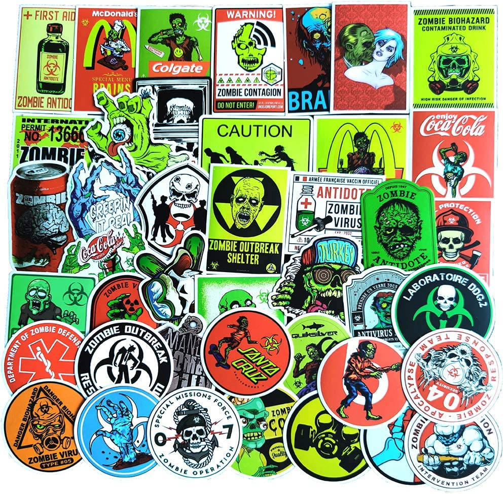 50 Pcs Stickers for Zombie Resident Evil Aesthetic Stickers for Water Bottle Laptop Skateboard Luggage Flask Computer Car Phone Trendy Vinyl Waterproof Stickers