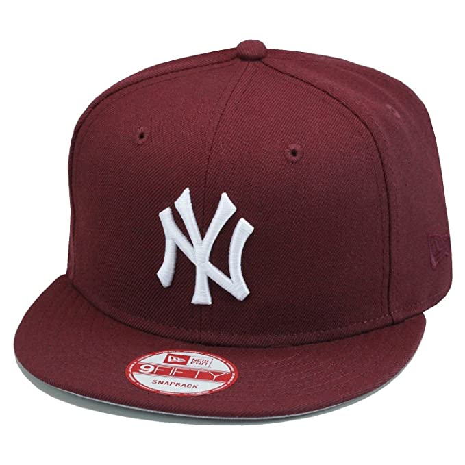 2a95c795171 Amazon.com   New Era 9fifty New York Yankees Snapback Hat Cap All  Maroon White MLB Baseball   Clothing