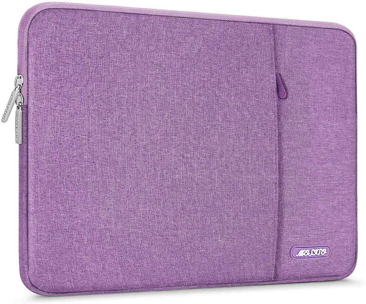 MOSISO Laptop Sleeve Bag Compatible with 13-13.3 inch MacBook Pro, MacBook Air, Notebook Computer, Water Repellent Polyester Vertical Protective Case Cover with Pocket, Light Violet