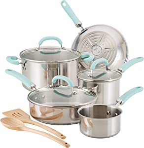 Rachael Ray Create Delicious Stainless Steel Cookware Set, 10-Piece Pots and Pans Set, Stainless Steel with Light Blue Handles