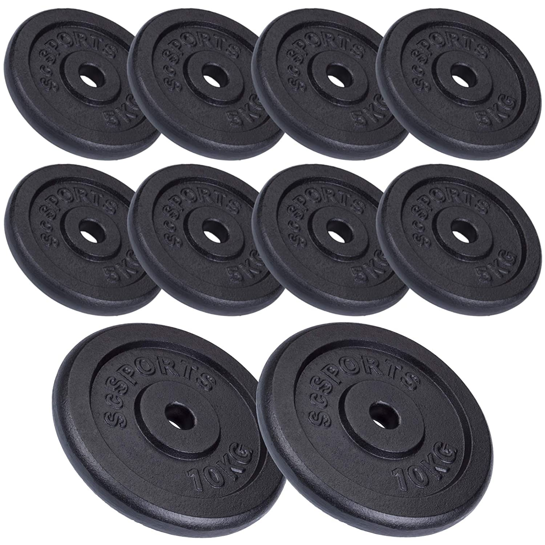 ScSPORTS 60 kg Hantelscheiben-Set Gusseisen 8 x 5 kg + 2 x 10 kg Gewichte 30/31 mm Bohrung, durch Intertek geprüft + Besteanden¹