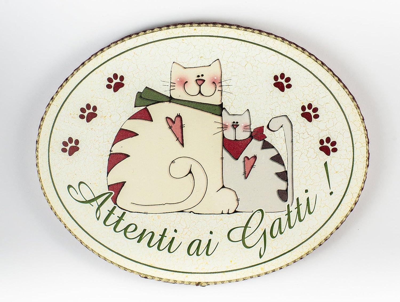 con frase scritta made in Italy fuori stanza tavola country targa porta targhetta ovale attenti ai gatti idea regalo spiritosa bomboniere artigianato italiano