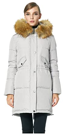 9e33a2910be5 Orolay Women s Down Jacket with Removable Faux Fur Hood Puffer Coat Grey XS