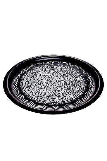 Tablett Groß orientalisches rundes tablett aus metall fayek 40cm groß schwarz