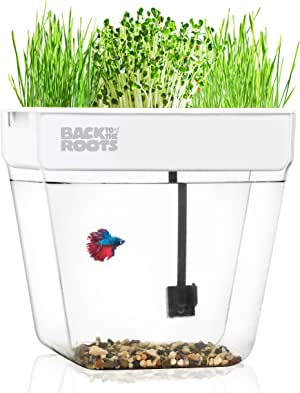 Back to the Roots Water Garden, Self-Cleaning Fish Tank That Grows Food, Mini Aquaponic Ecosystem (Great Gardening Gift & Family Project)