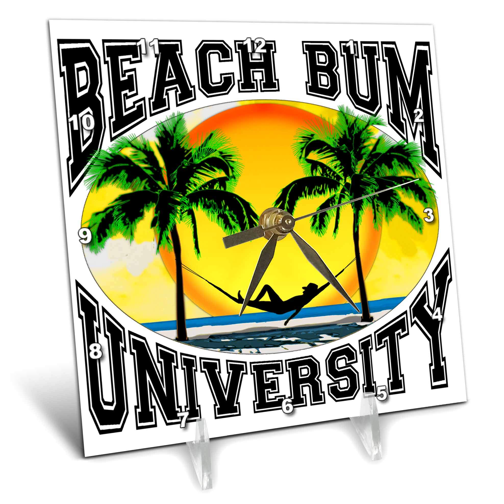 3dRose Macdonald Creative Studios – Beach - A Fun Beach Bum University for Anyone who Loves Relaxing on The Beach. - 6x6 Desk Clock (dc_291853_1)