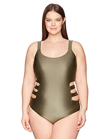 f9e73ef36f9 BECCA ETC Women s Plus Size Shimmer One Piece Swimsuit at Amazon Women s  Clothing store
