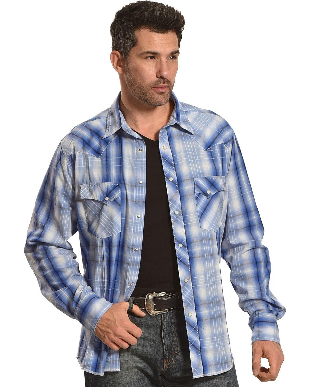 Wrangler Men's Tough Enough to Wear Pink Button Front Shirt, Light Blue, XXL
