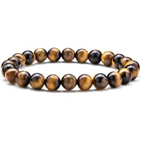 (Tiger Eye) - Hamoery Men Women 8mm Natural Stone Lava Rock Diffuser Bracelet Elastic Yoga Agate Beads Bracelet Bangle